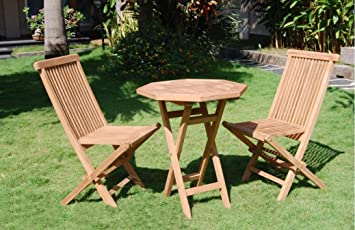 60cm Bistro Solid Teak Wood Folding Table & 2 Chairs Durable Set ...