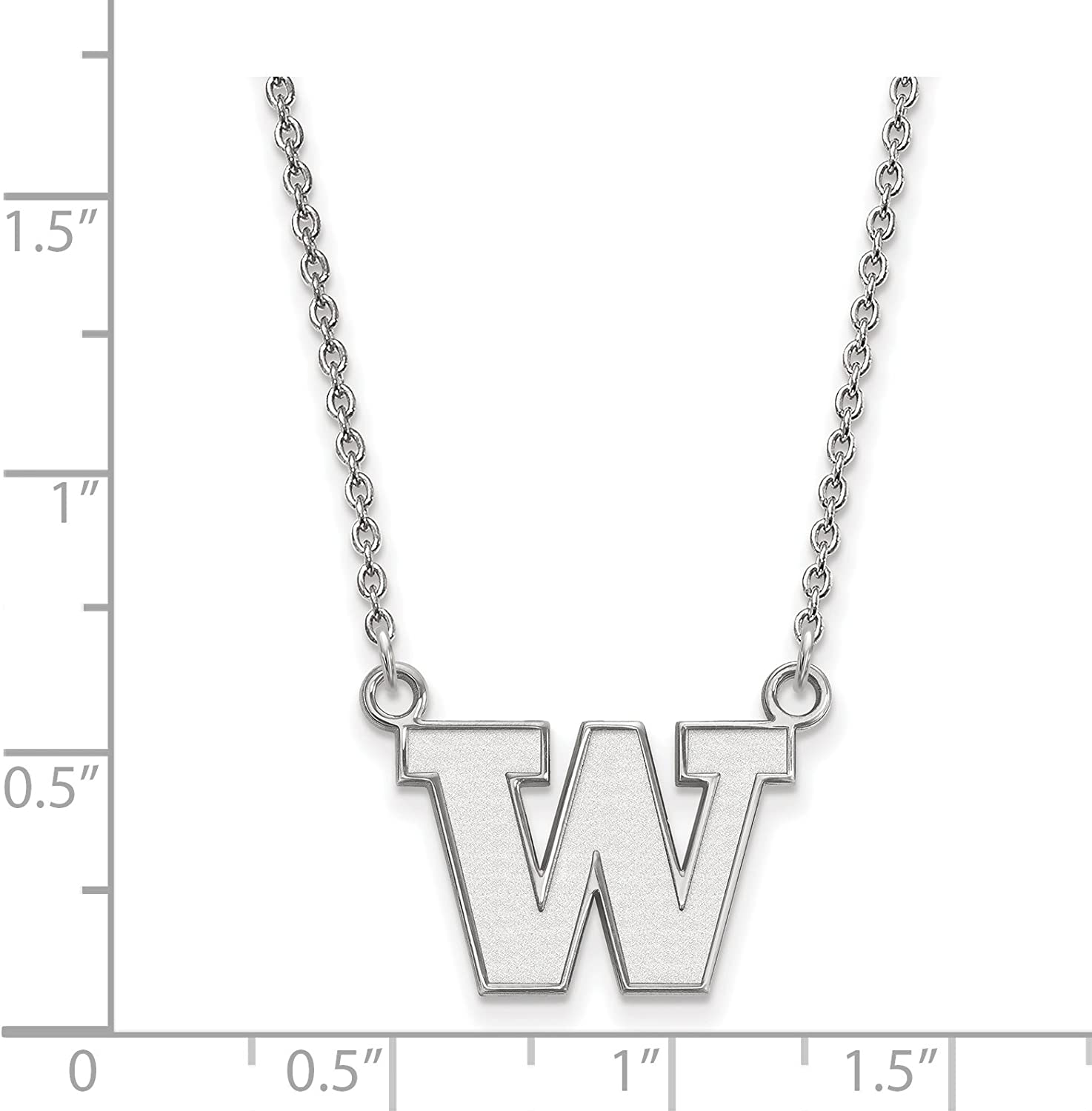 Washington Huskies School Letter Logo Pendant Necklace in Sterling Silver 14x18mm 18 Inches