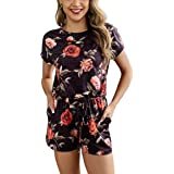 KIRUNDO Women's 2020 Summer Short Sleeves Crewneck Floral Leopard Tie Dye Drawstring Waist Belt Pajamas Rompers with Pockets