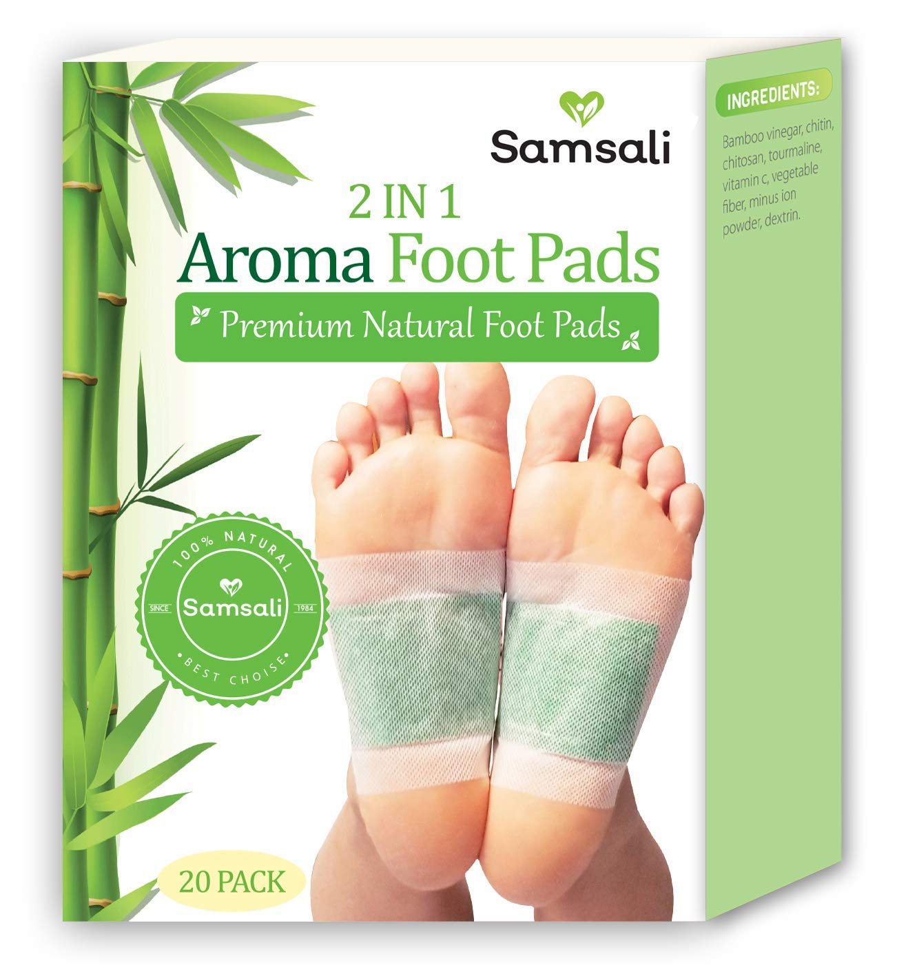 Samsali Foot Pads, Upgraded 2 in 1 Nature Foot Pads, Rapid Foot Care and Pain Relief, Higher Efficiency Than Foot Sleeve and Metatarsal Pads, Best Foot Pads for Foot Care, 20 Packs by Samsali