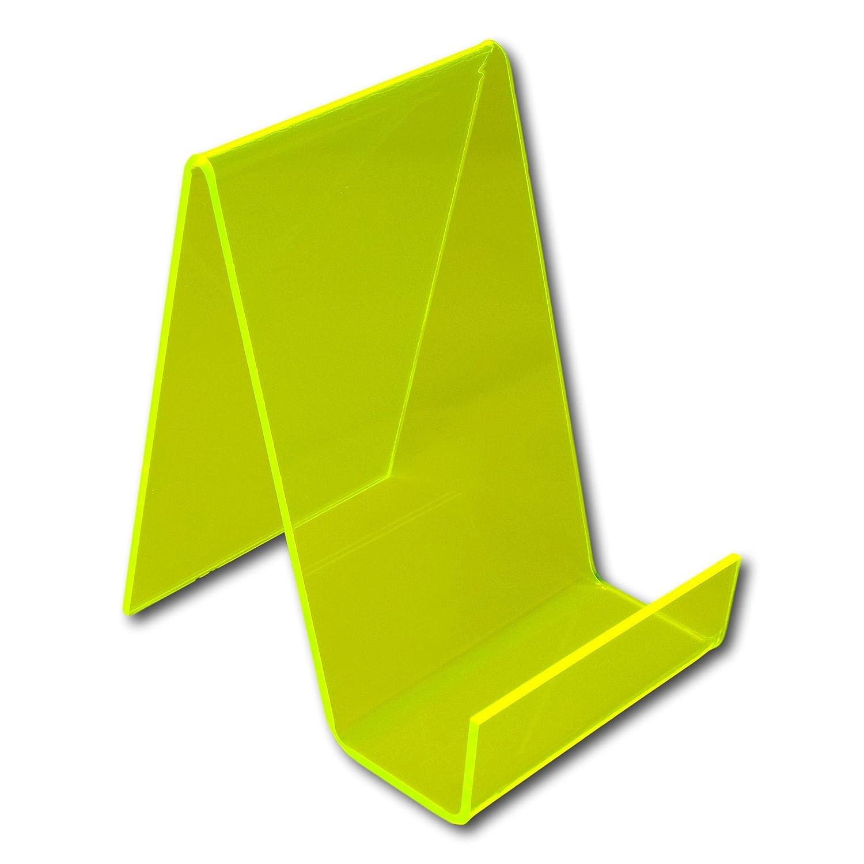 EPOSGEAR Medium Plastic Acrylic Perspex Book Plate Retail Display Stand Holder Libraries etc Perfect for Schools Nurseries Acid Green