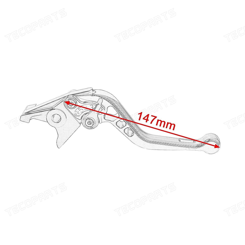 XJR 1300//Racer 2004-2016 Tencasi Silber CNC 3D Lang Bremshebel Kupplungshebel 6-Fach Verstellbar f/ür FJR 1300 2004-2017