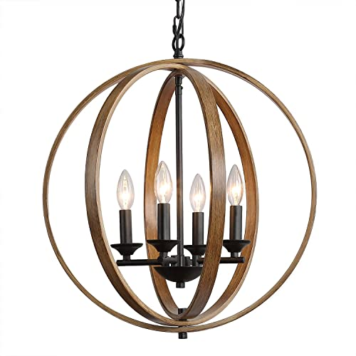 LOG BARN Farmhouse Chandelier, 4 Dining Room Lighting Fixtures Hanging, Faux-Wood Finish, Brown