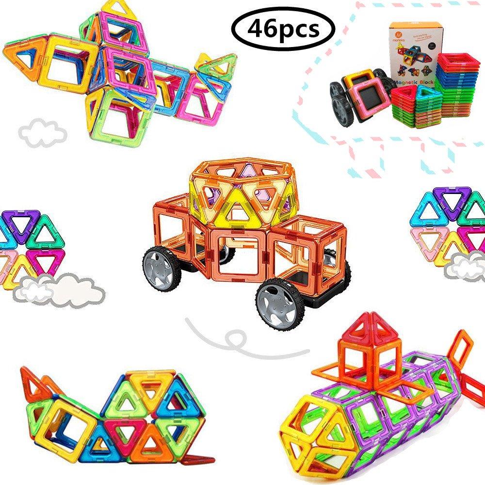 Magnetische Bausteine 46 Teile Magnete Bauklötze Konstruktion Blöcke Bausatz Pädagogisches Spielzeug Set Kreative Spielzeuge Kinder Kleinkind Mädchen Jungen Spielzeugauto Tolles Weihnachtsgeschenk von Morkka