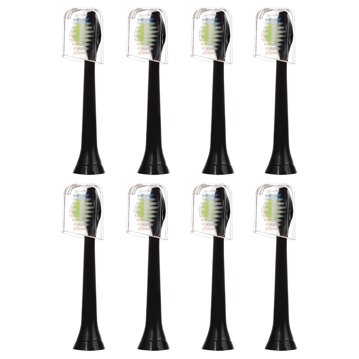 8 pcs (2x4) E-Cron® Toothbrush heads With Hygienic Travel Caps. Compatible Replacement Heads with Philips Sonicare DiamondClean Black.