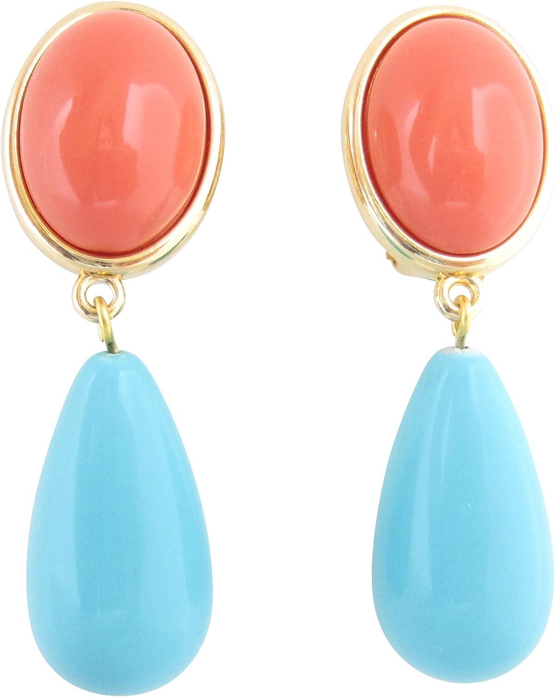 JUSTWIN - Pendientes de clip, color naranja y turquesa, muy grandes, color azul turquesa