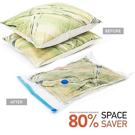 Wonder Worker PRESS Kit de 12 Bolsas de Almacenamiento al Vacío con Bomba de Mano de Viaje JUMBO Gratis Ahorro de Espacio: Amazon.es: Hogar