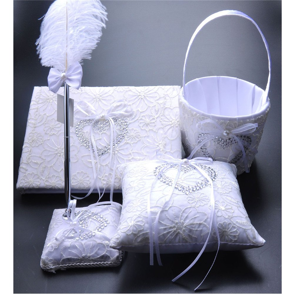 FYSTORE 4 in 1 Set Wedding Accesorries Sets Wedding Guest Book +Pen Set +Flower Girl Basket + Ring Pillow, Double Hearts Rhinestone Elegant Wedding Ceremony Party Favor Sets