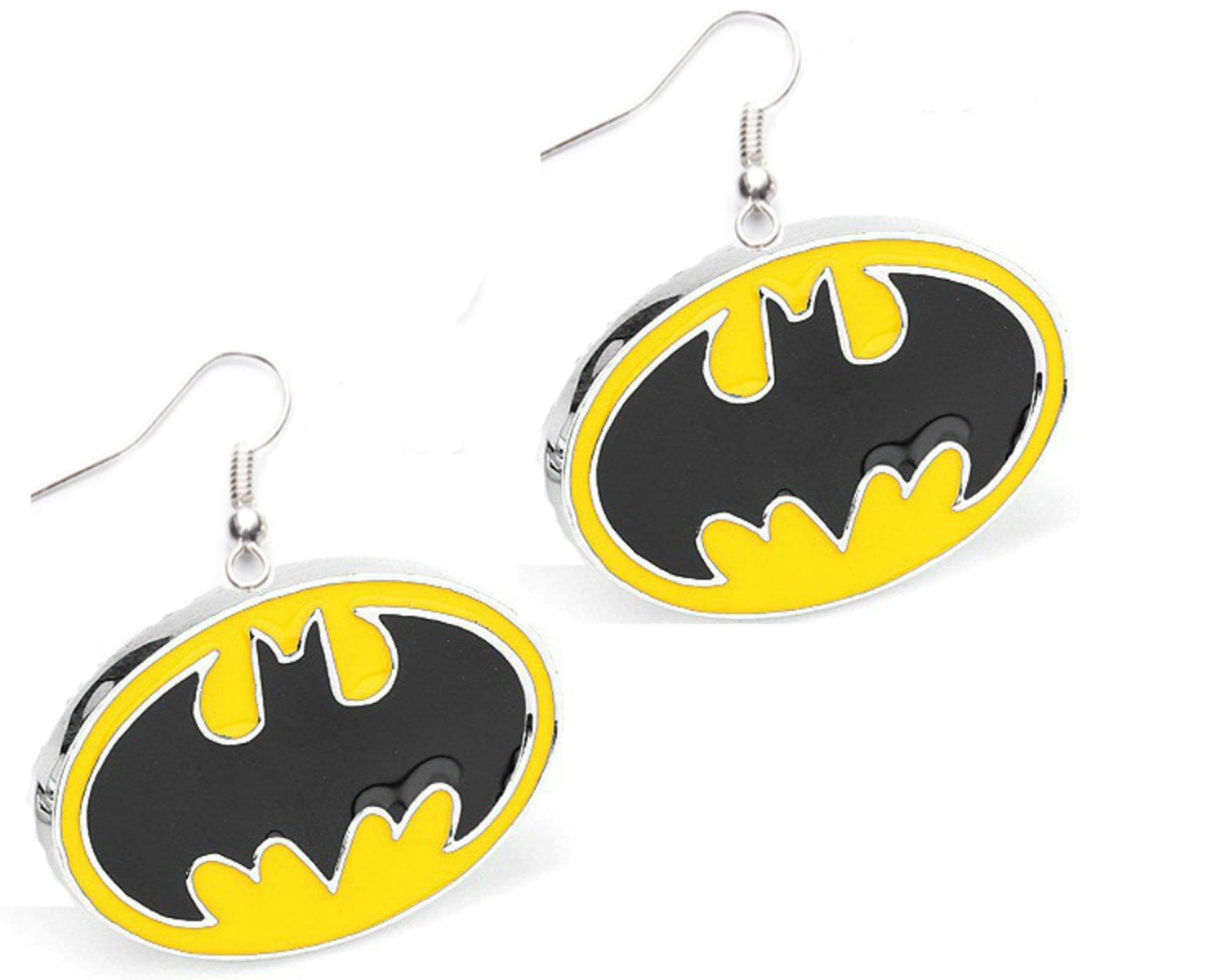 Outlander DC Batman Yellow & Black Logo Earring Dangles In Gift Box