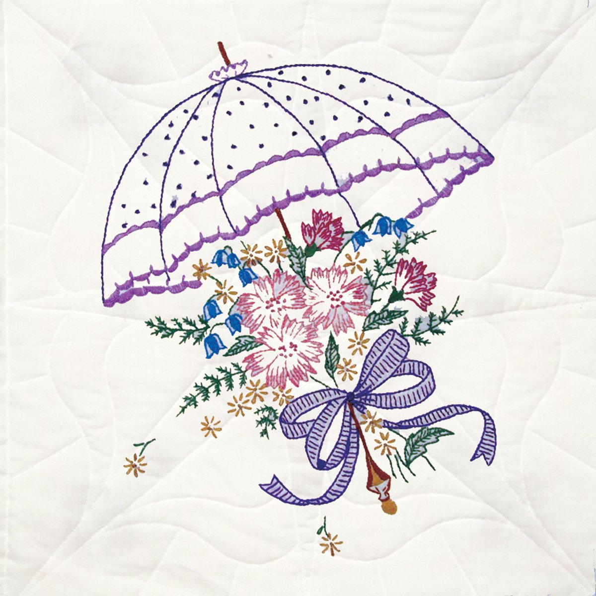 Fairway 92106 Quilt Blocks, Flower Umbrella Design, White, 6 Blocks Per Set Notions