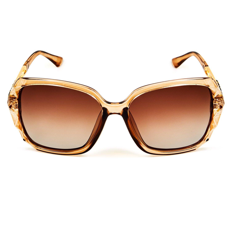 a4064ca512 Leckirut Women Shades Classic Oversized Polarized Sunglasses 100% UV  Protection Eyewear coffee frame coffee lens