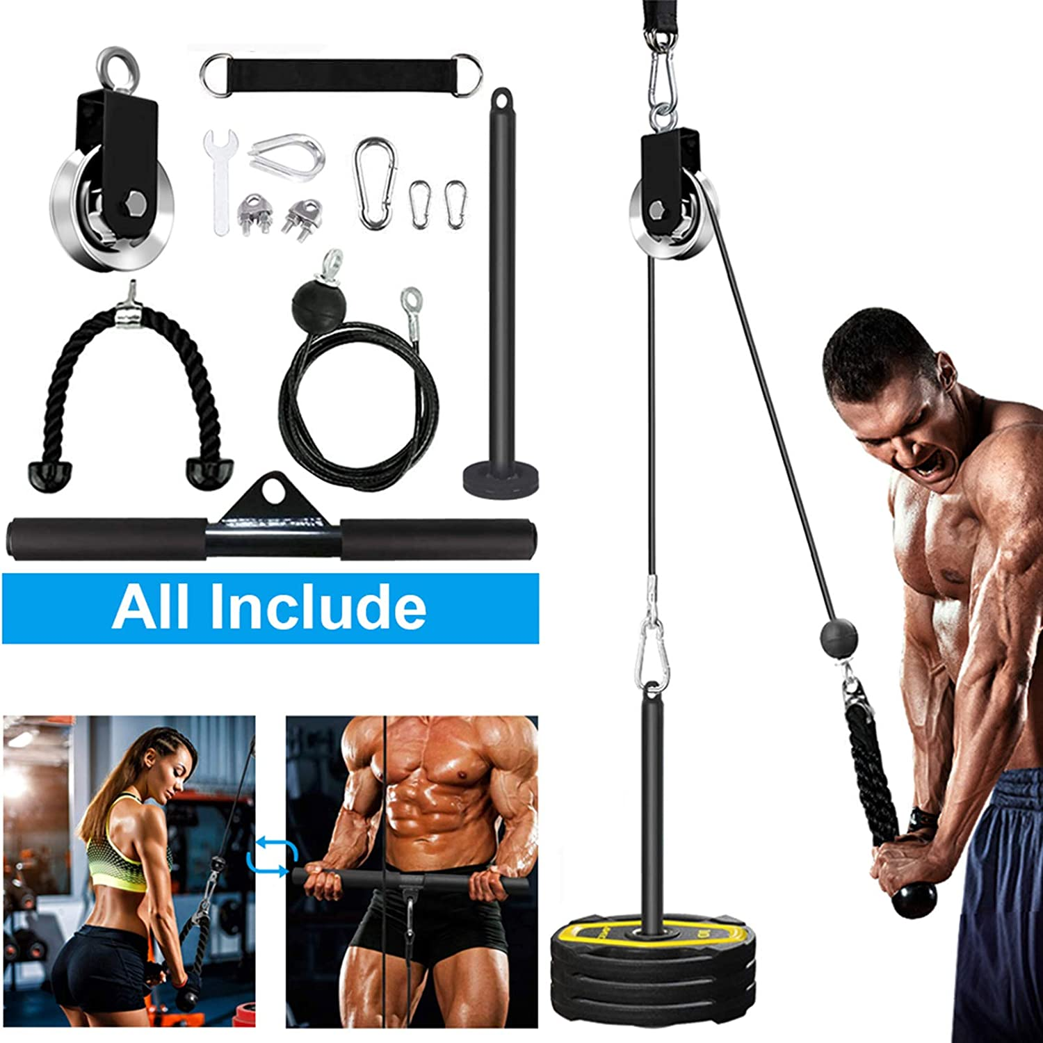 Yamyshine Fitness LAT and Lift Pulley System, Upgraded Pulley Cable Machine for Triceps Pull Down, Biceps Curl, Back, Forearm, Shoulder-Home Gym Equipment