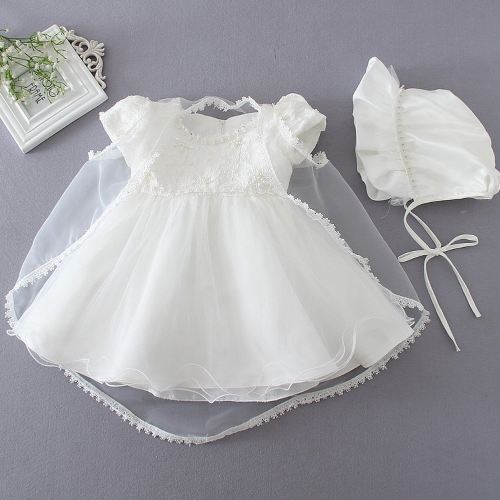 Baby Girl Dress 3PCS Christening Baptism Gowns Moon Kitty