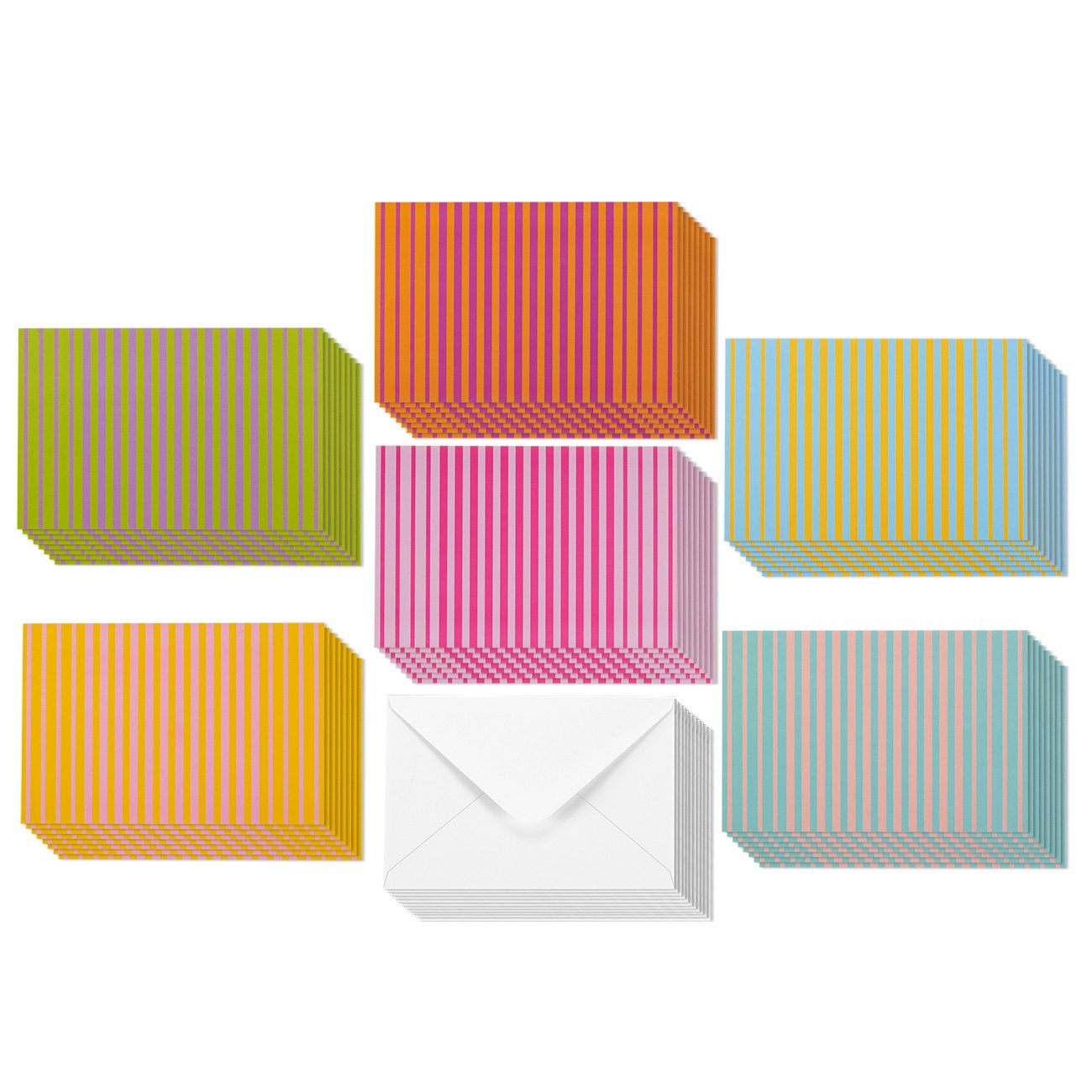 Amazon 40 blank note cards multi color pack matching 48 pack every all occasion blank greeting cards bulk box set 6 colorful striped designs kristyandbryce Image collections