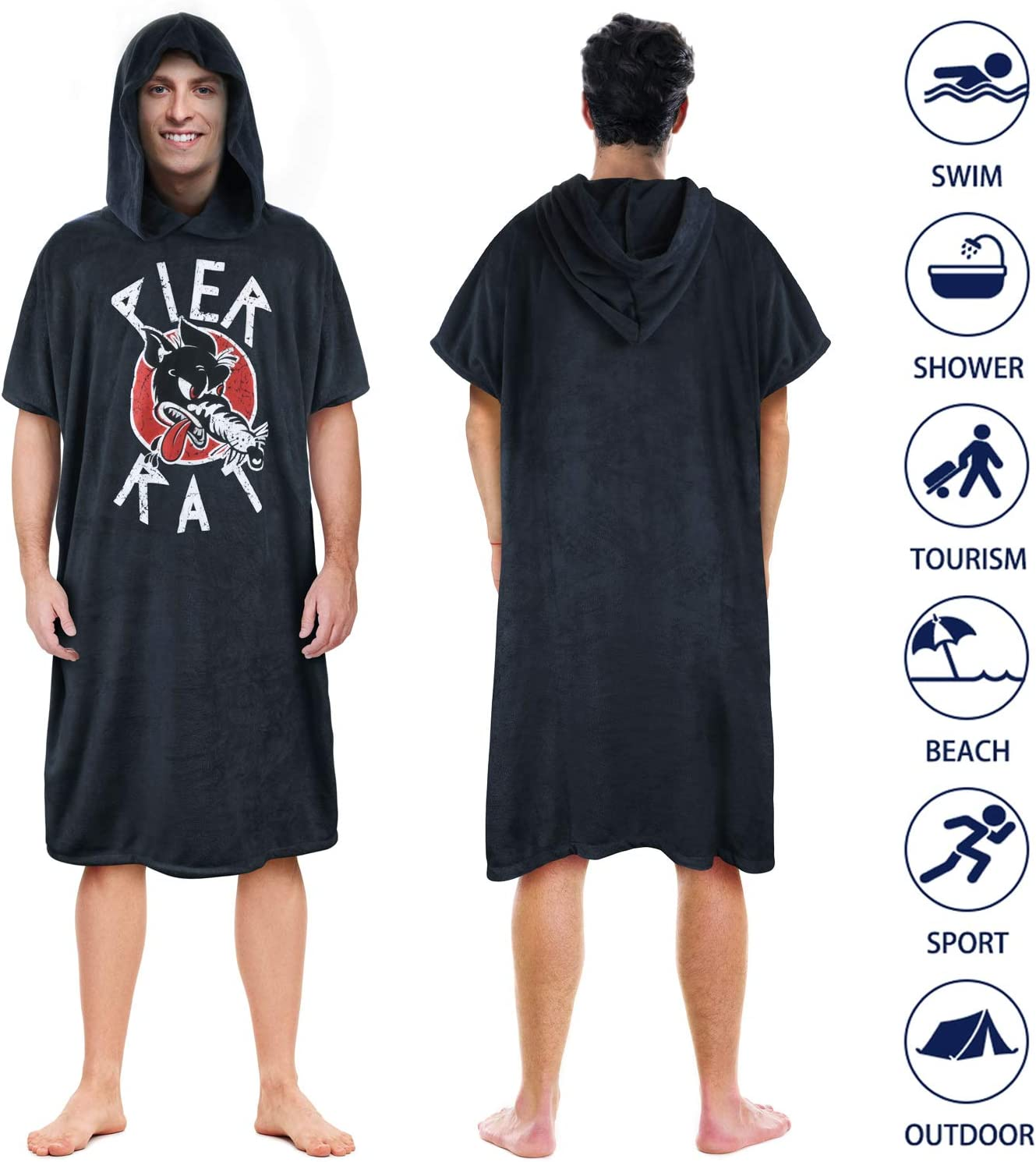 MYLUNE HOME Hooded Changing Robes Towel Unisex Quick-drying Diving Cloak for Surfing Swimming Wetsuit Changing