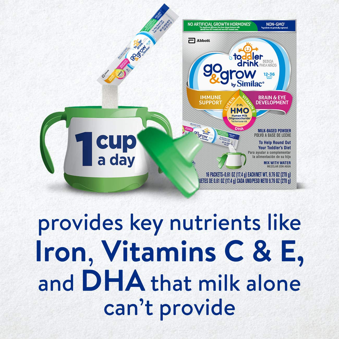 Go & Grow by Similac Non-GMO Toddler Milk-Based Drink with 2'-FL HMO for Immune Support, Powder Stick Packs, 17.4 g, 64 Count by Similac Go & Grow Milk (Image #5)