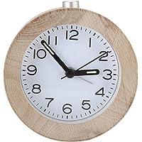 Eboxer Reloj de Despertador Silencioso Redondo de Madera