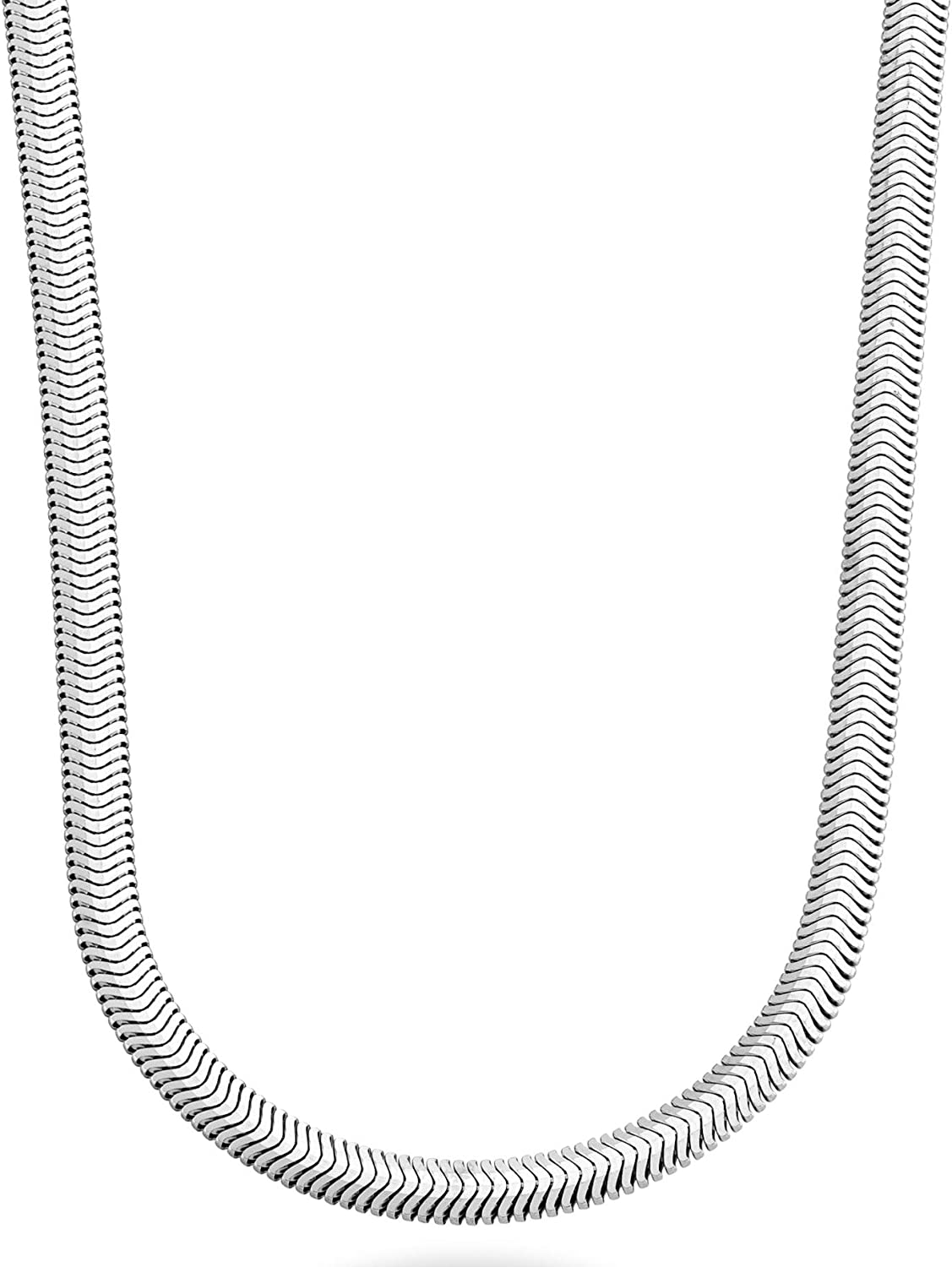 Miabella 925 Sterling Silver Italian 4mm Solid Diamond-Cut Flat Snake Dome Herringbone Chain Link Necklace for Women Men 16, 18, 20, 22, 24 Inch Made in Italy