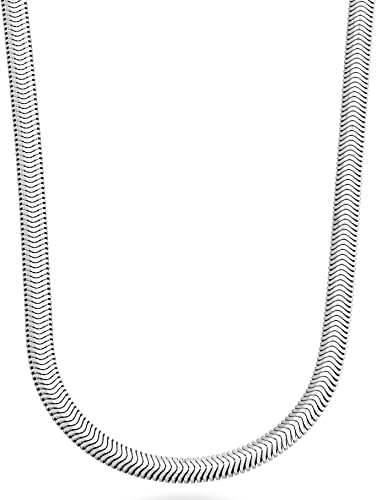 925 Sterling Silver Italy Flat Snake Chain Necklace 18