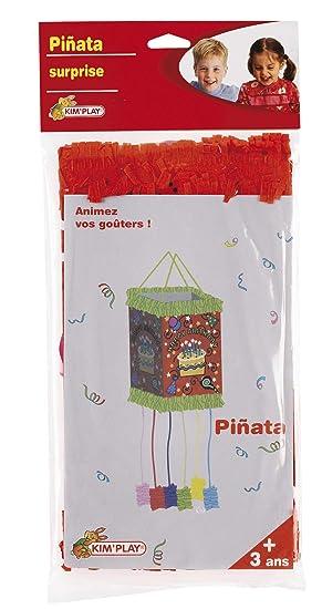 KimPlay 12610 - Piñata cuadrada, diseño tarta de cumpleaños (no rellena)