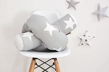 KraftKids Bettrolle große weiße Sterne auf Grau/Uniweiss Rollenlänge 200 cm