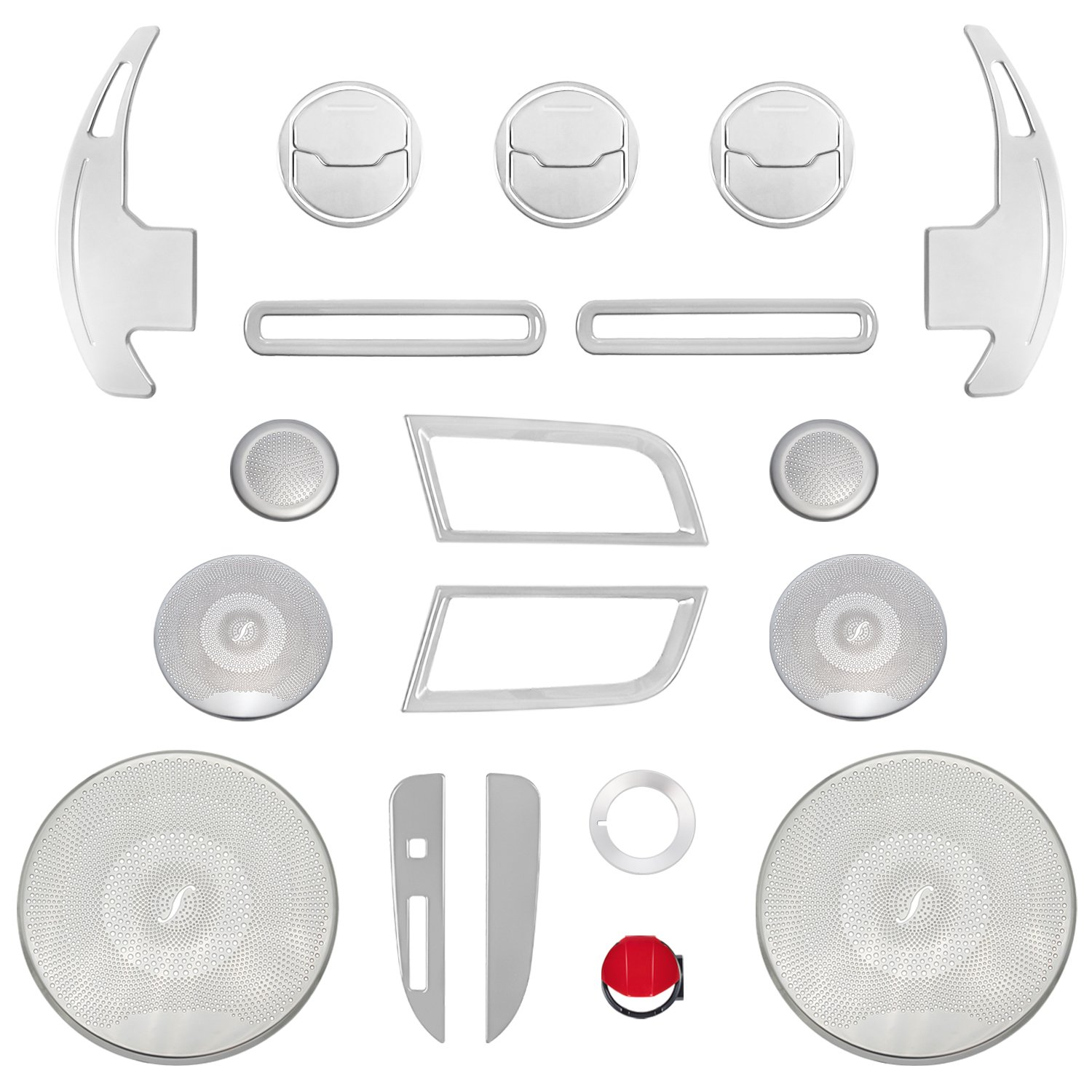 Yoursme 25PCS Interior Accessories for Ford Mustang 2015 2016 2017 2018 Silver