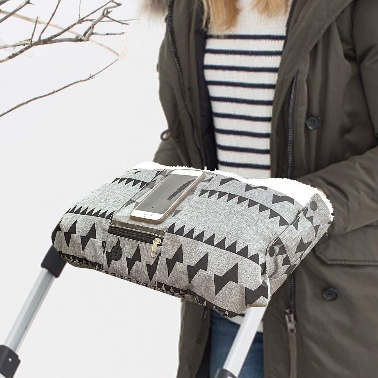 VDROL Stroller Hand Warmer, Stroller Hand Muff Stroller Fleece Hand Gloves Anti-freeze Baby Stroller Accessories,Warmer for Most Baby Infant Toddler Single Handle Pushchair Pram Stroller