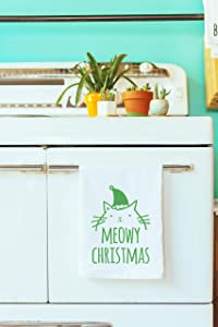 Funny Holiday Kitchen Towel, Meowy Christmas, Flour Sack Dish Towel, Sweet Housewarming Gift, Xmas Gift, White