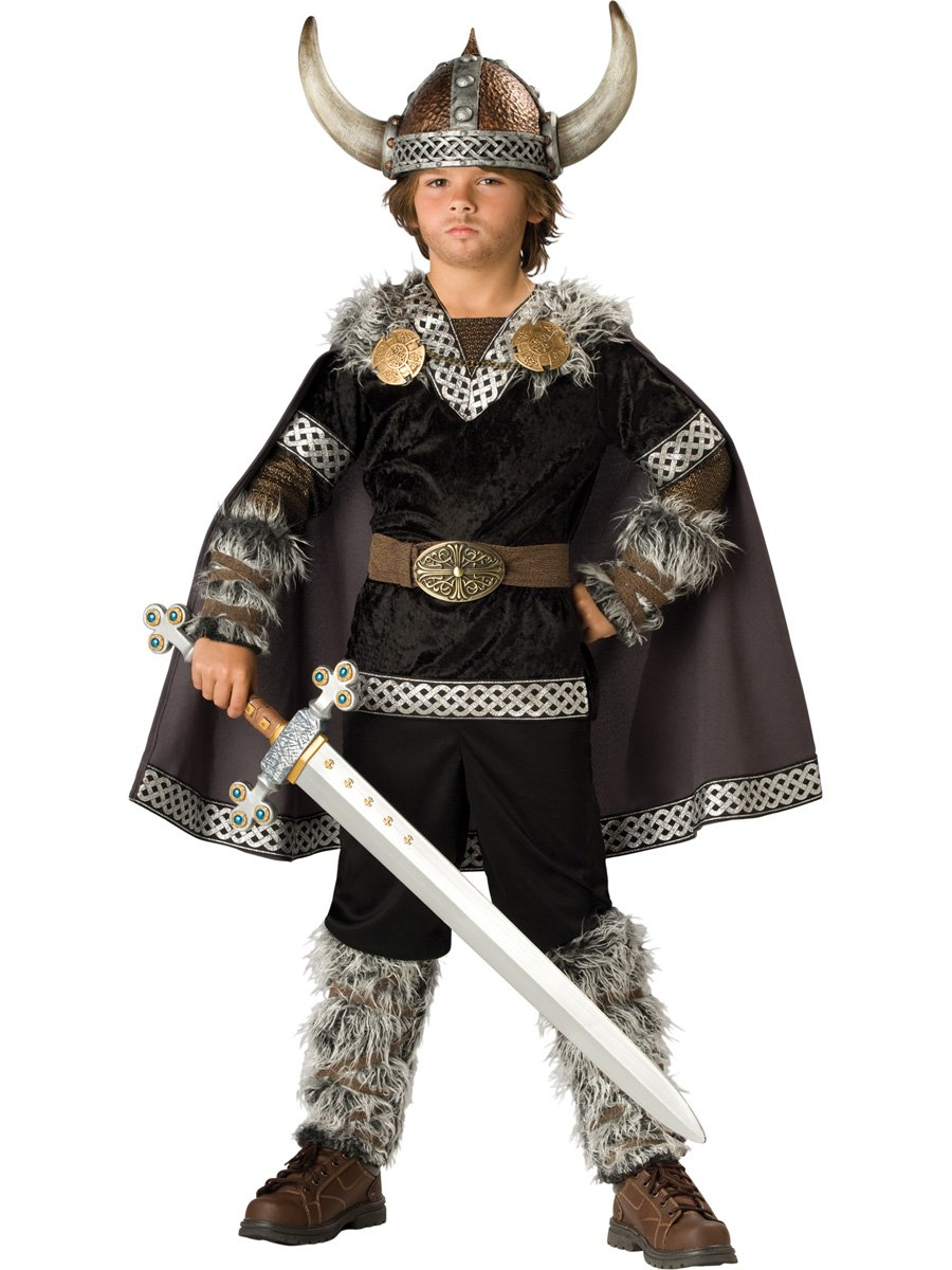 InCharacter Costumes Boys Viking Warrior Costume, Black/Silver, Medium