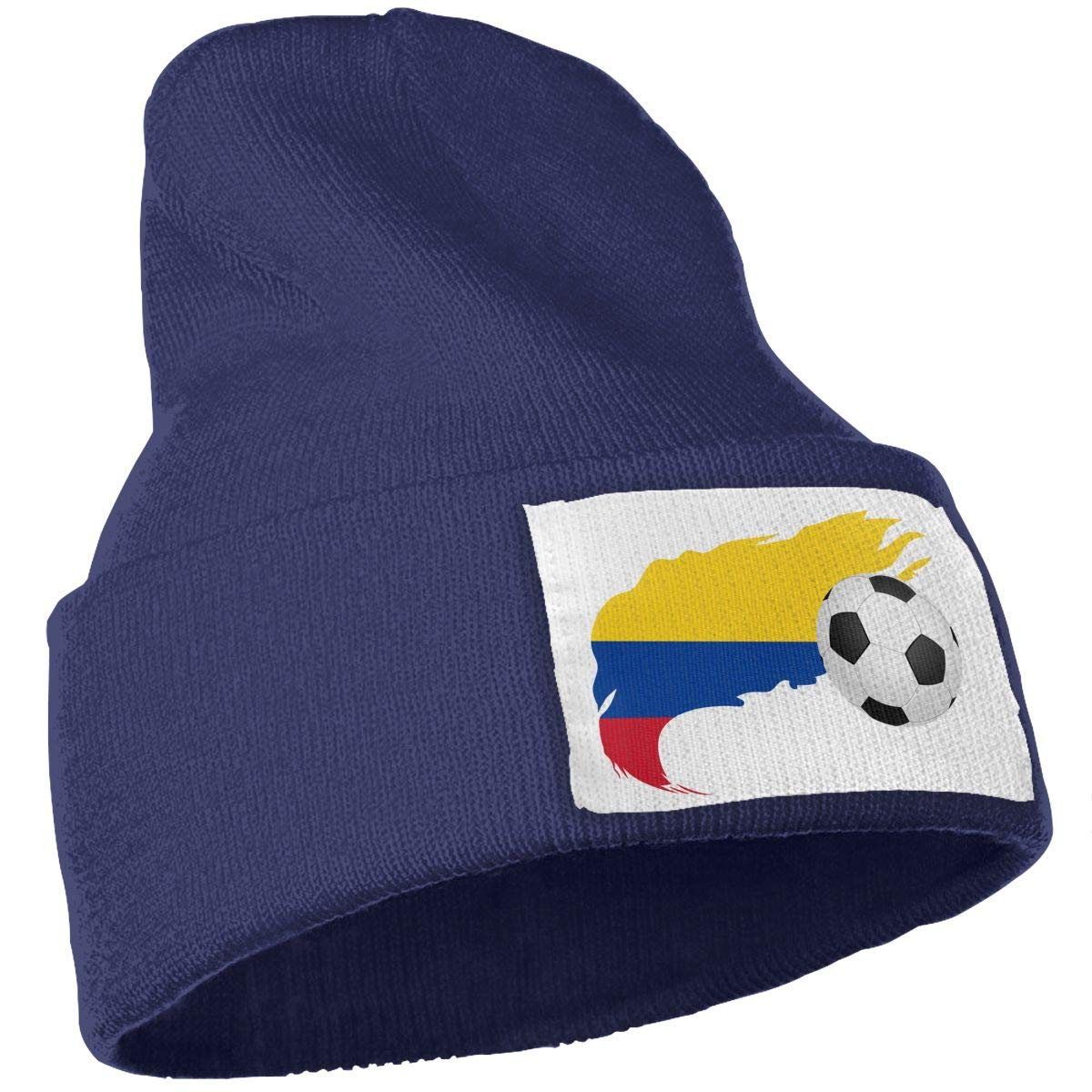 Soccer Ball with Colombia Flag Men /& Women Skull Caps Winter Warm Stretchy Knitting Beanie Hats