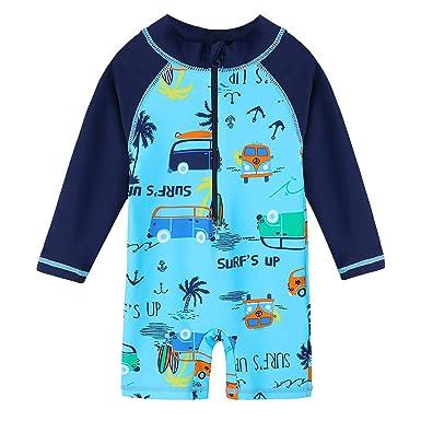 5bf86b0fec Storeholic Baby Boy Swimsuit Long Sleeve One-Piece Toddler Swimwear Rash  Guard(6-