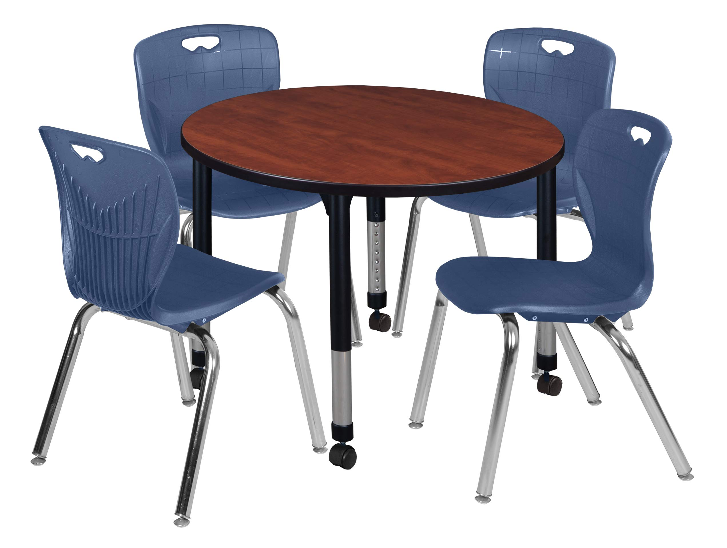 Regency TB42RNDCHAPCBK40NV Kee Height Adjustable Mobile Classroom Table Set with Four 18'' Andy Chairs, 42'', Cherry/Navy by Regency