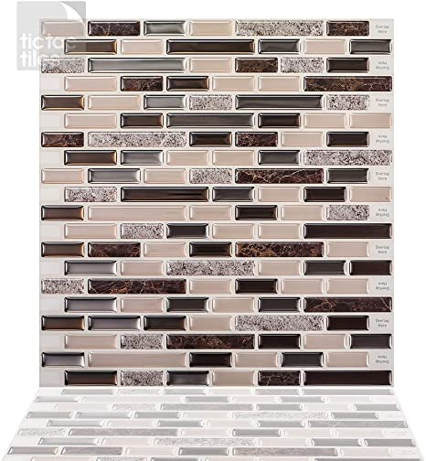 Amazon Com Tic Tac Tiles 5 Sheet Peel And Stick Tile Backsplash Stick On Backsplash Tile 12 X12 Brown Marble Como Crema Home Improvement