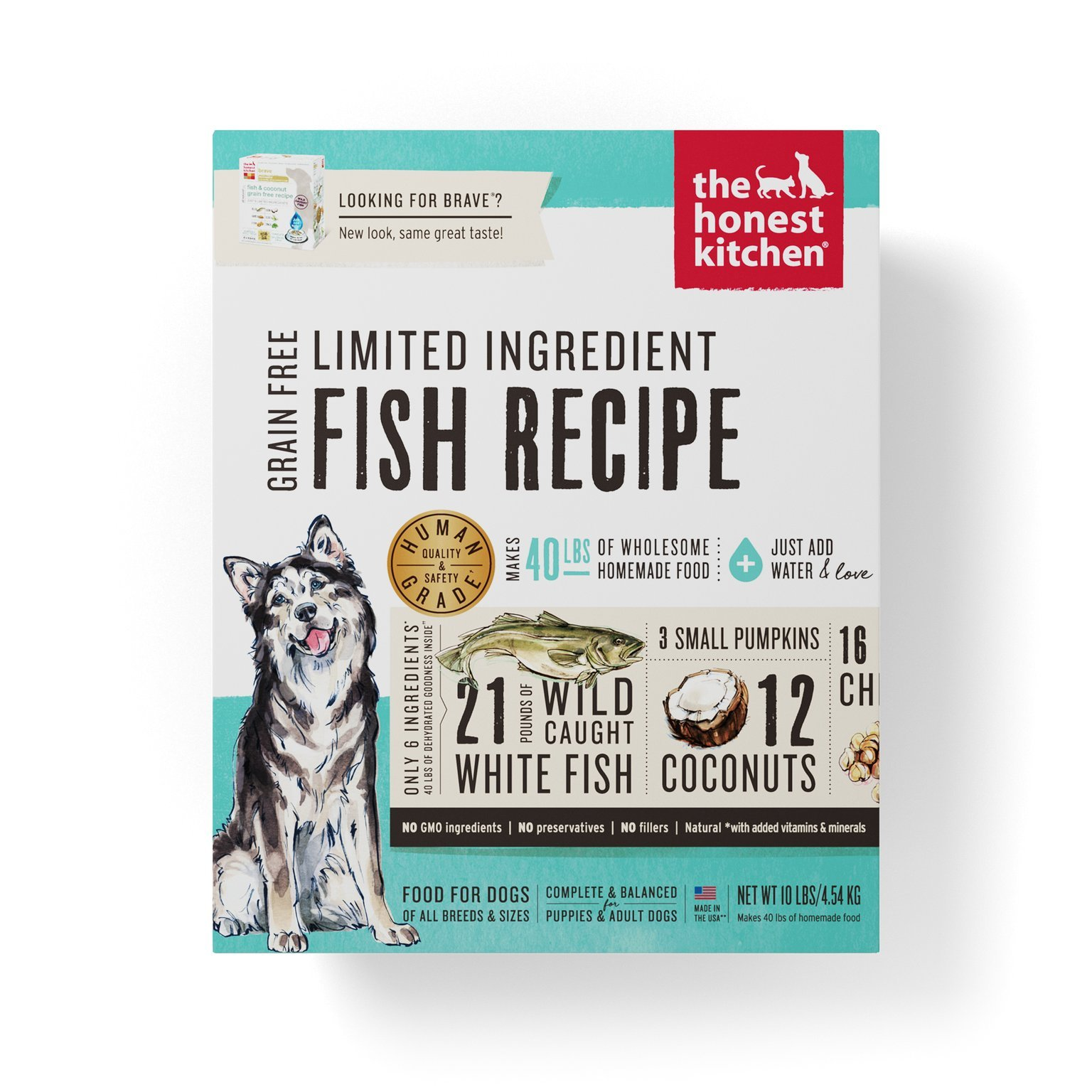 The Honest Kitchen Brave Grain Free Dog Food - Dehydrated Minimalist Limited Ingredient Dog Food, Fish & Coconut, 10 lbs (Makes 40 lbs)