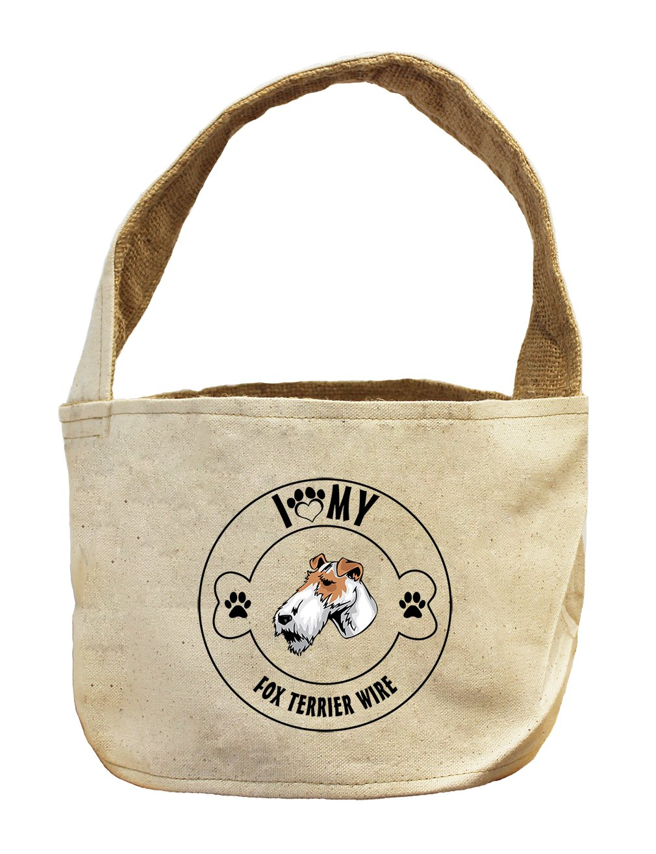 Style in Print Canvas/Burlap Storage Basket I Love Paw My Fox Terrier Wire Dog
