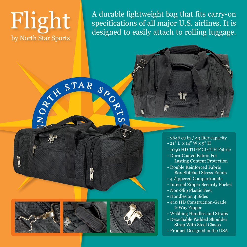 amazon com north star sports 1050 tuff cloth flight carry on