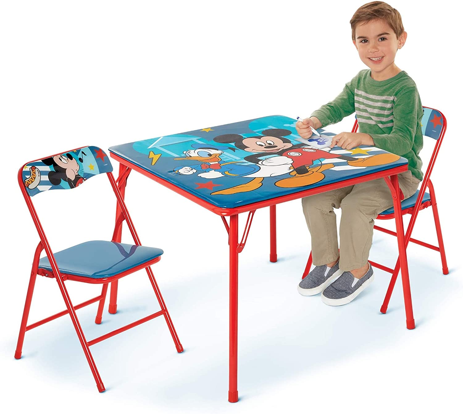 Mickey Mouse Activity Table Sets – Folding Childrens Table & Chair Set – Includes 2 Kid Chairs with Non Skid Rubber Feet & Padded Seats – Sturdy Metal Construction