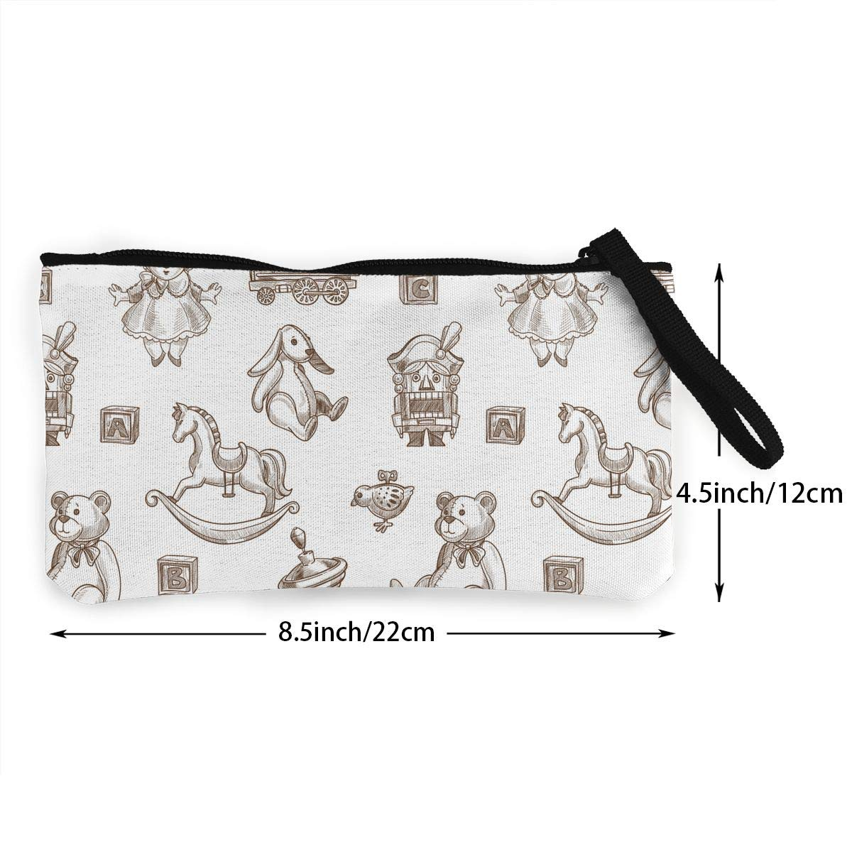 Womens Vintage Purse Rabbit And Fluffy Plush Bear Pattern Canvas Card Wallet With Zipper For Women