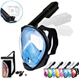 Foldable Full face Snorkeling mask with New Safety Breathing System, 180-degree Panoramic View, Waterproof and Anti-Fog, with Camera Stand, Universal Snorkeling mask