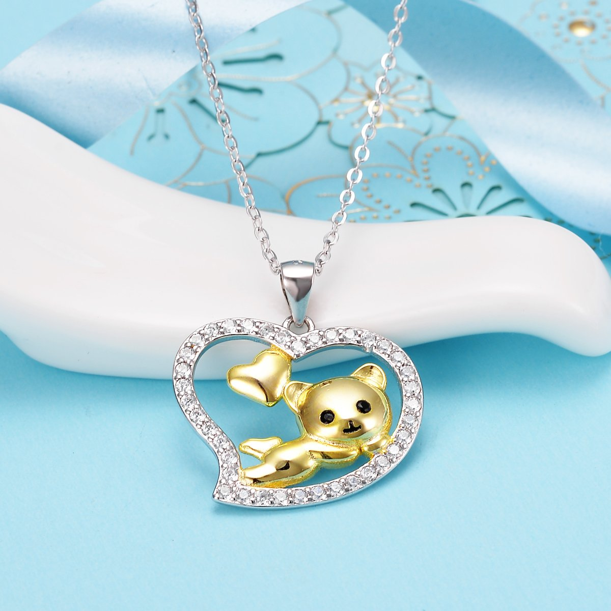 EleQueen 925 Sterling Silver Clear Cubic Zirconia Double Love Open Heart Lovely Bear Pendant Necklace
