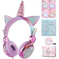 Unicorn Kids Headphones for Girls Children Teens, Wired Headphones for Kids with Adjustable Headband, 3.5mm Jack and…