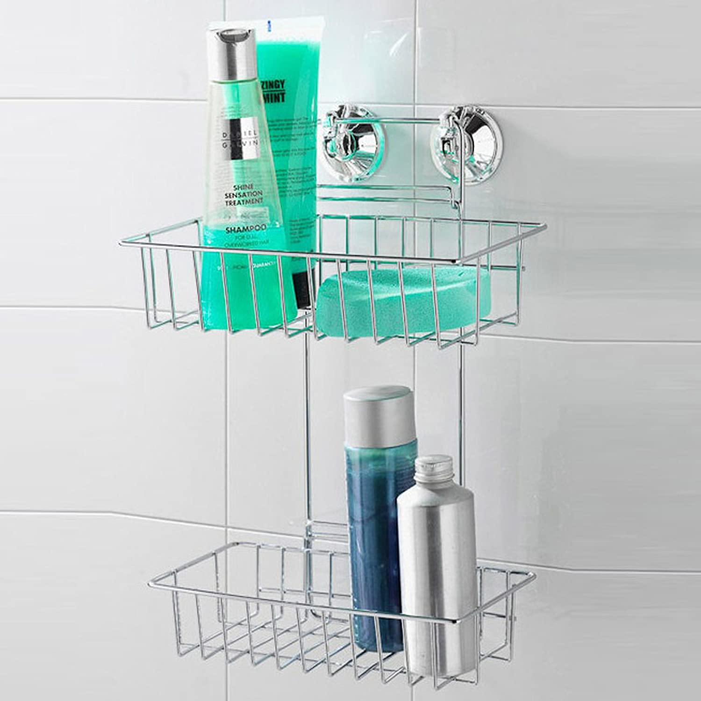 2 Tier Suction Fix Bathroom Shower Caddy Hanging Shelf Rack: Amazon ...