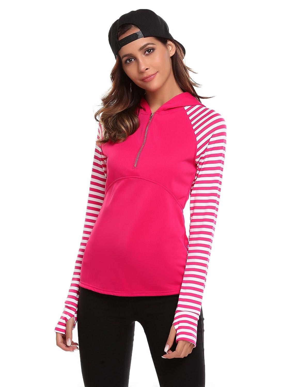 UNibelle Women's Sweatshirt Pullover Hoodie Stripe Sleeve Half Zipper Active Shirt