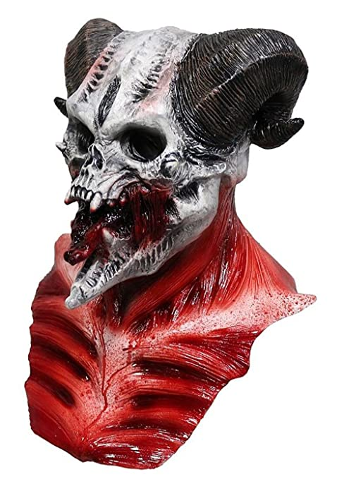 DELUXE MENS DEVIL SKULL LATEX HEAD MASK /& CHEST ADULT HORROR BIG HALLOWEEN NEW