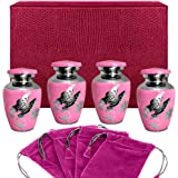 Pink Butterfly Small Keepsake Urns for Human Ashes - Set of 4 - These Small Urns are Perfect for Showing Love and Affection - A Simple Beautiful Design and Finish - w Case and 4 Pouches