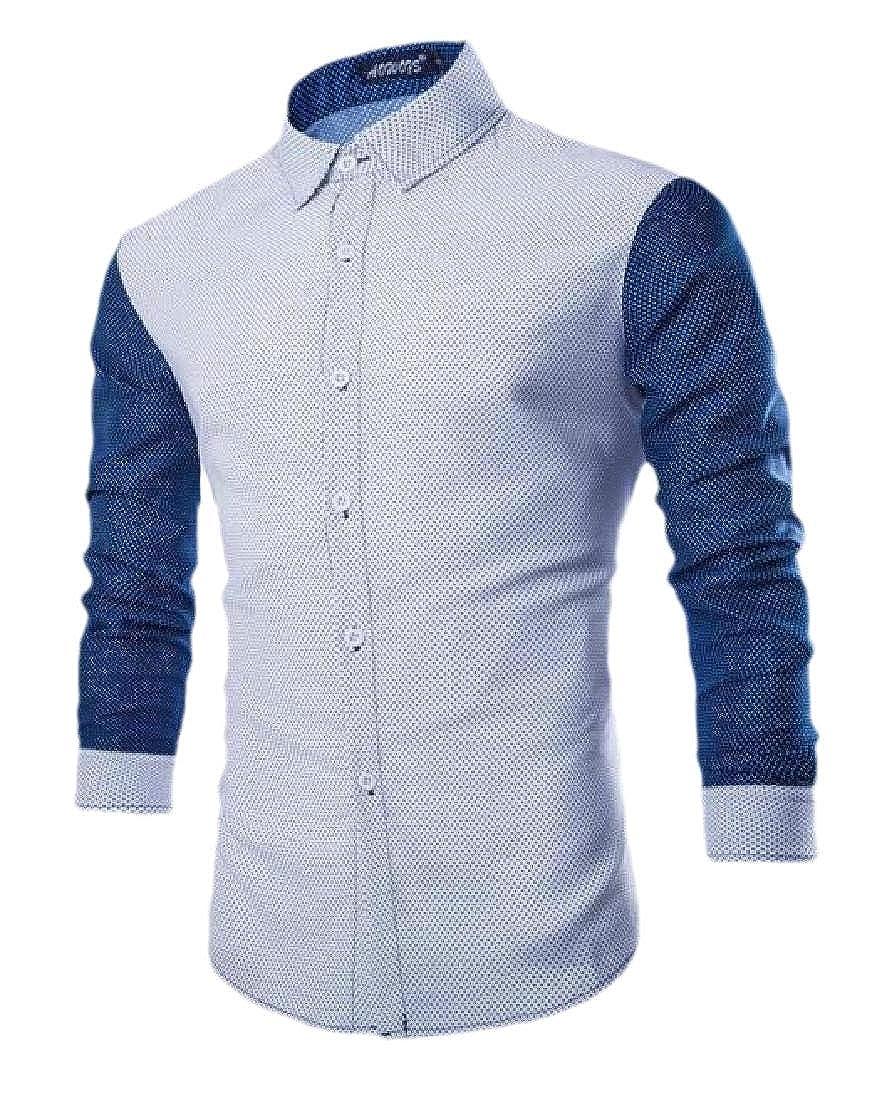 CYJ-shiba Mens Contrast Dress Shirt Long Sleeve Slim Fit Button Down Shirts