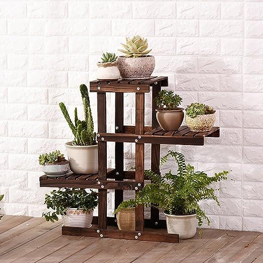 Sillas FL Pergolas/Estante de flores de madera para plantas, expositor de flores, estante de almacenamiento para macetas de madera para interiores y exteriores, macetas de flores de varias capas, color marrón oscuro: