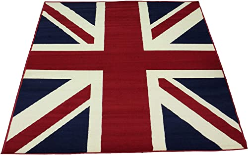 Traditional British Flag UK Flag Union Jack Style Carpet Traditional Oriental Area Rug 5ft x 8ft Approx.
