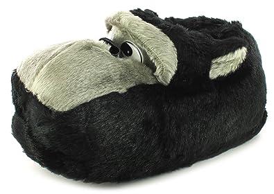 911a8c127ba66 Hommes - Chaussons tête singe   gorille fausse fourrure - Noir   gris,  Fausse fourrure