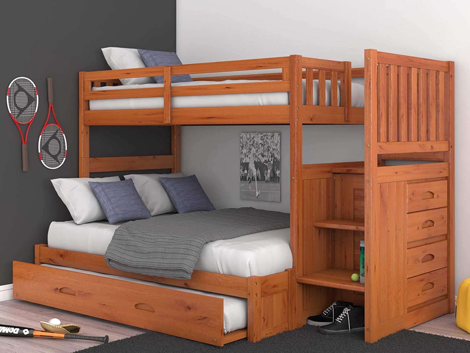 Discovery World Furniture Mission Twin Over Full Staircase Bunk Bed with Trundle, Desk, Hutch, Chair and Entertainment Dresser in Honey Finish